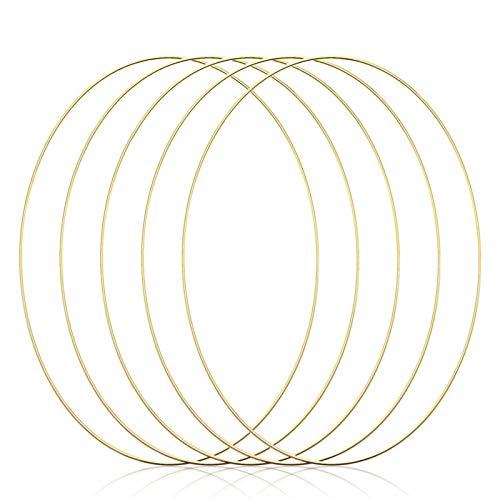 4 Stück 20cm Gold Metallring Floral Hoops Ringe Kranz Makramee Ringe für Traumfänger Ring, Makramee Ring, Floristik Neues Jahr Party Dekoration