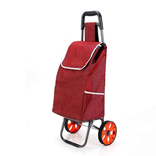 XBSTC Einkaufstrolley rot isolierte Kühltasche faltbar Rolling Shopping Lebensmittel Tailgating BBQ Bier Eiswagen a