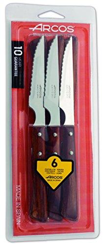 2. Arcos 372 – Juego de cuchillos chuleteros de 6 piezas con mangos de madera