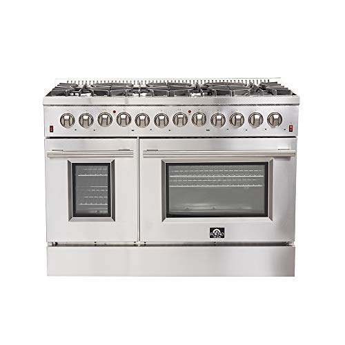 FORNO 48″ Galiano Dual Fuel Gas Range with 240 Volt Electric Oven Pro-Style 8 DEFENDI Italian Burners 107,000 BTU All Stainless Steel