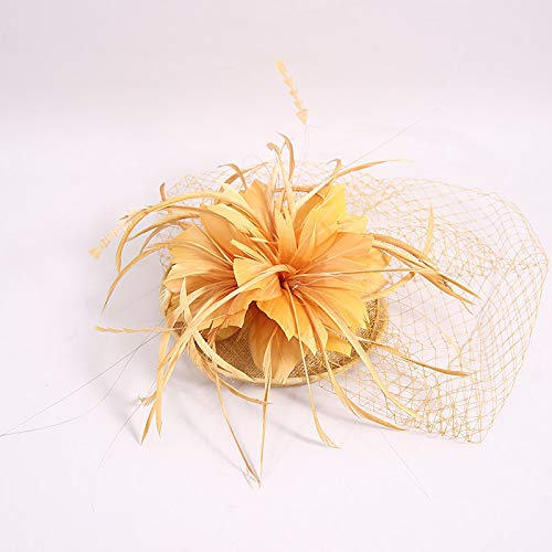 Veil Hoed Stage Banket Feather Headdress Honderd Netting Jurk Hoed 17Cm Geel