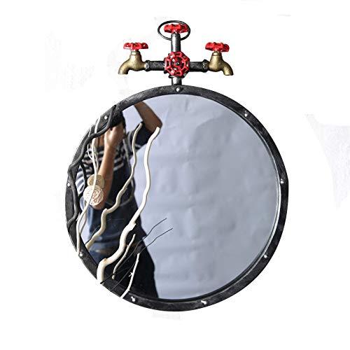 HLL Spiegel, Metallspiegel, Runde High Definition Badezimmer Spiegel Industrietharmhahn Modellierung Dekorative Spiegel Bar Billard Hall Toilette Eitelkeitspiegel,B,70 * 70 Cm.