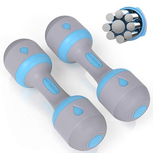 PANMAX Verstellbares Hanteln Gewichte Set, Handgewichte Kurzhanteln 2kg(=1kg,1.5kg, 2kg) / 5kg(=1-5kg), Hantelset für Männer Frauen mit rutschfeste Gummihand, Allzweck, Heim, Fitnessstudio Fitness
