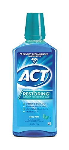 ACT Restoring Mouthwash, Cool Splash Mint, 33.8 Ounce Bottles (Pack of 3), Anticavity Fluoride Mouthwash Helps Support Tooth Enamel and Oral Health to Help Prevent Tooth Decay and Cavities