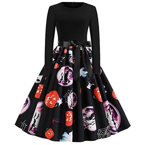 Lazzboy Frauen Neue Halloween Kürbis Print Kleid Rundhals Reißverschluss Hepburn Partykleid Damen Retro Lace Vintage Eine Linie Schaukel(Schwarz-2,M)