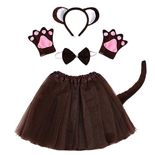 Los Affenkostüm - kleiner Affe - für Mädchen - Mädchen - Tutu - Stirnband - Handschuhe - Fliege - Schwanz - Verkleidungszubehör Halloween Karneval Cosplay - braune Farbe