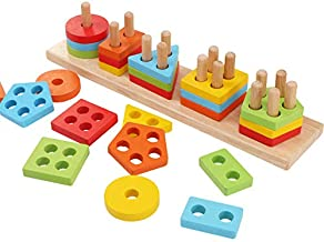 WOOD CITY Wooden Sorting & Staking Toys for Toddlers, Educational Shape Color Recognition Puzzle Stacker, Early Childhood Development Puzzle Toys for 1 2 3 Year Old Boys Girls(5 Shapes)