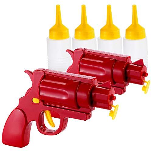 infactory Pistole für Mayonaise: 2er-Set 2in1-Ketchup- und Senf-Pistole (Ketchup Spender als Pistole)
