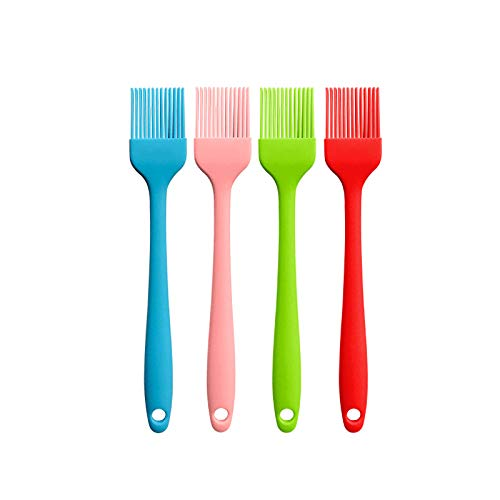 4 Pack Silcone Basting Brushes Spread Oliver Oil Butter Tomato Sauce Marinades Egg Wash Pastry Brush for BBQ Grill Baking Cooking Baste Pastries Cakes Meat Desserts Kitchen, 8.3 Inch (Mixed Color)
