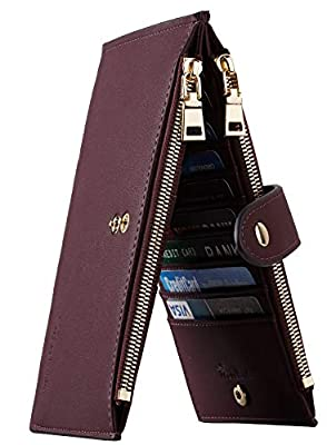 Travelambo Womens Walllet RFID Blocking Bifold Multi Card Case Wallet with Zipper Pocket (Chelsea Red Wine)