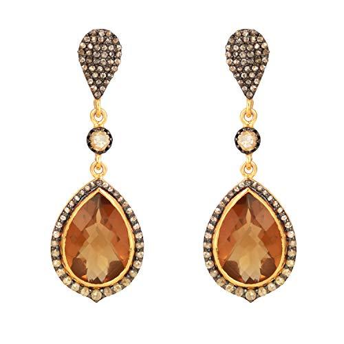 Plata de ley 925 en forma de pera con oro de 14 quilates con cuarzo oso y diamante natural marrón de 1,54 quilates (claridad I2-I3) para mujeres