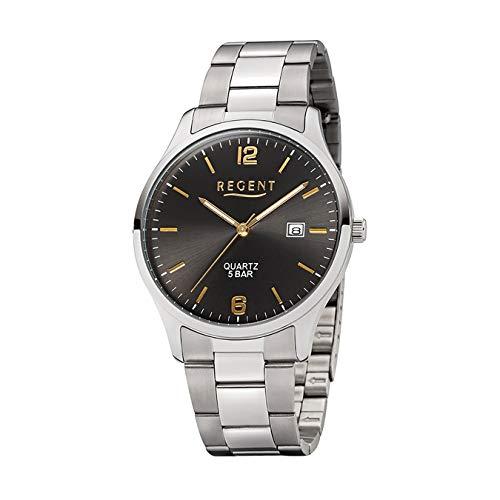Regent Elegante reloj de pulsera analógico para hombre, correa de acero inoxidable plateada, reloj de cuarzo con esfera gris antracita UR1153401