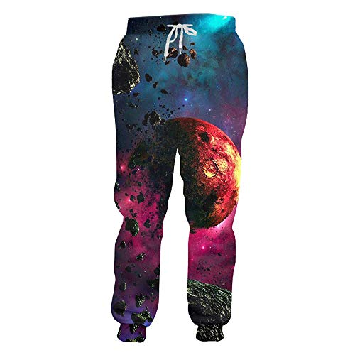 XLKIE23D Sweat Broek Joggers Broek 3D Grafische Print Galaxy Space Joggingbroek voor Heren Hip Hop Volledige Lengte Broek