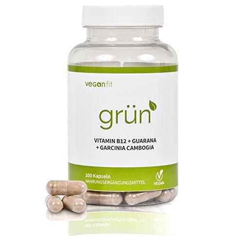 AUSVERKAUF -40%! GRÜN - 100% natürlicher Premium Fatburner Komplex. Guarana, Grüntee-Extrakt, Grüner Kaffee Extrakt, Vitamin B12, Garcinia Cambogia | vegan | hochdosiert | made in germany