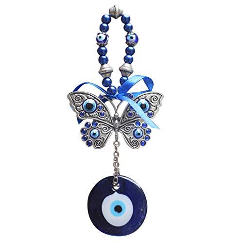 WINOMO Adorno Colgante de Pared de Ojo Malvado Azul Turco Decoración del Hogar con Colgante de Mariposas Protección Buena Suerte Amuleto Bendición Regalo de Cumpleaños de Bienvenida