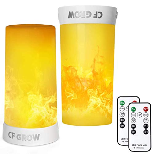 LED Flame Effect Light, CFGROW USB Rechargeable Battery Operated Flame Lamp, Fireplace Light with Remote & Timer,Waterproof Dimmable 4 Modes Flameless Candle Light for Room Party Bar Decor 2 PCS