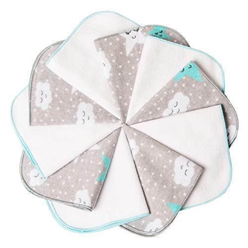 mimaDu® Molton Flanell Baby Waschlappen aus 100% OEKO-TEX Baumwolle 10er Set - 25x25 cm - Flanelltücher Kinderservietten - weich und flauschig- weiss grau türkis.