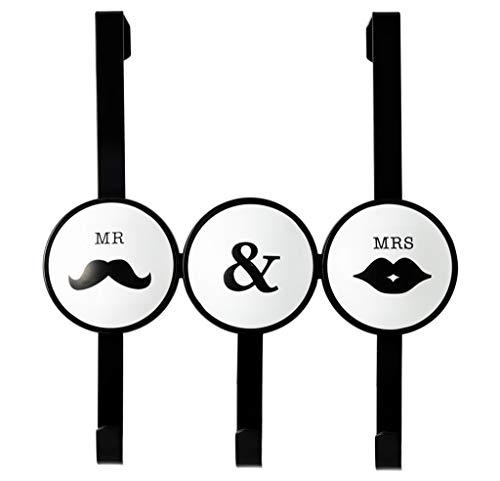 WXiaJ-Haken Mr & Mrs Türhaken Schmiedeeisen Wohnzimmer Schlafzimmer Multifunktions Kleidung Hut Lagerregal Schwarz