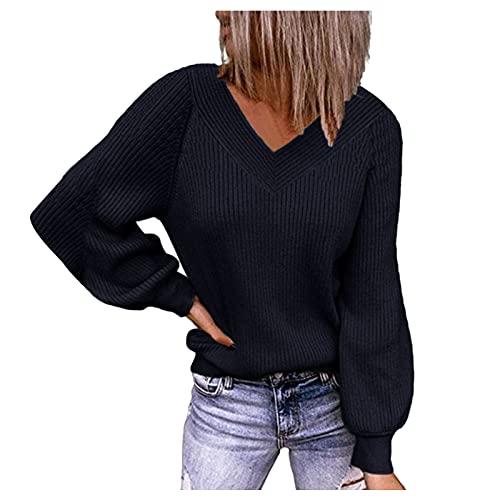Dasongff Pull Col V Manches Longues Femme Chandail Tricoté Pullover Femmes Chic et Élégant Lâche Pulls Tuniques Décontractée Chemise de Base Chaud Tops Femme Automne Hiver