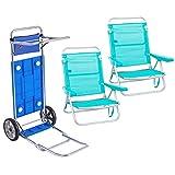Pack de 2 sillas de Playa Aguamarina de Aluminio y textileno y Carro portasillas Doble Despliegue - LOLAhome