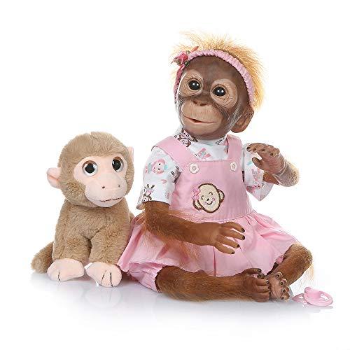 Muñeca de mono,Tickas Realista Baby Monkey Doll 16 pulgadas 40 cm Realista Reborn Baby Monkey Hecho a mano Pintura detallada Muñecas de arte con camiseta de rayas amarillas