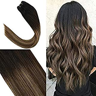 YoungSee 16inch Human Hair Weft Weaves Natural Black Fading to Dark Brown with Ash Blonde Balayage Full Head Sew in Hair Weft Human Hair Bundles 100G