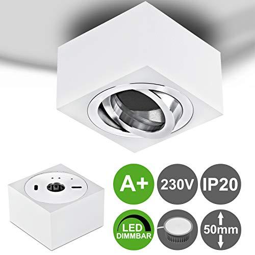 MILAN-S flacher (50 mm) Aufbaustrahler 5W dimmbar LED 230V eckig Weiß schwenkbar Deckenleuchte Strahler Deckenlampe Würfelleuchte Cube Warmweiß