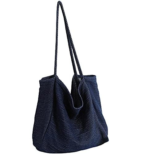 Sebasti Bolso de tela que se puede lavar para hacer vieja tela vaquera de gran capacidad, color azul claro, azul cobalto (Azul) - KUU34UAPG0
