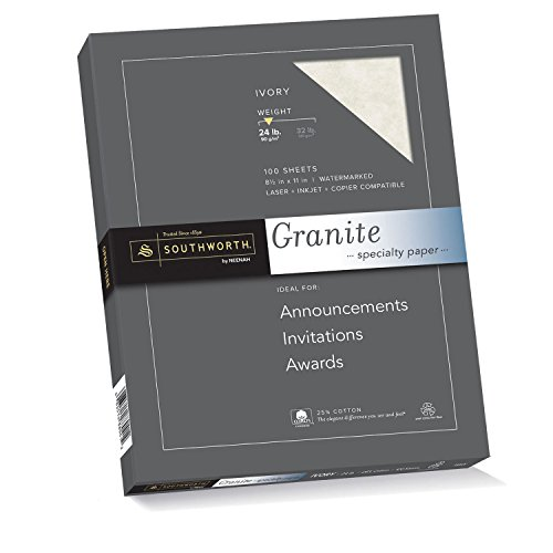 Southworth P934CK Granit-Spezialpapier, 25 % Baumwolle, 21,6 x 27,9 cm, 90 g/m², elfenbeinfarben, 100 Blatt