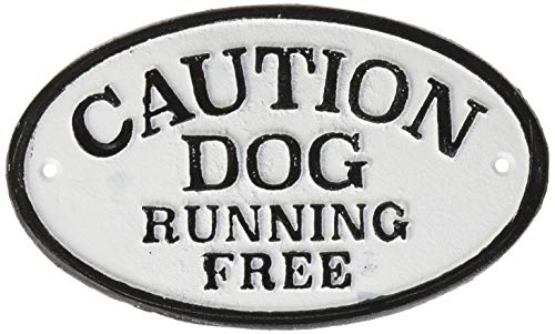 Magnet & Steel Imán y Acero Caution Dog Running Free Ovalada de Hierro Fundido Sign