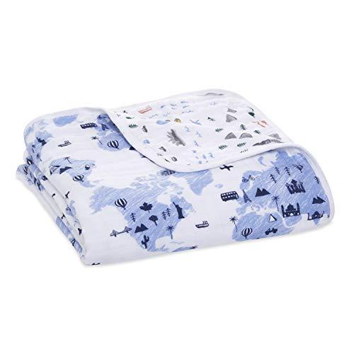 Aden + Anais Essentials Dream Blanket, Muslin Baby Blankets for Girls & Boys, Ideal Lightweight Newborn Nursery & Crib Blanket, Unisex Toddler & Infant Bedding,, Little Big World