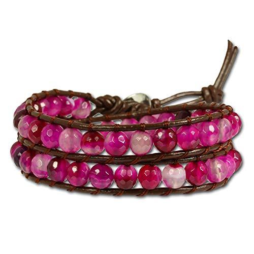 SilberDream Steinarmband Achat pink Damen Leder Armband Echtstein LAN003