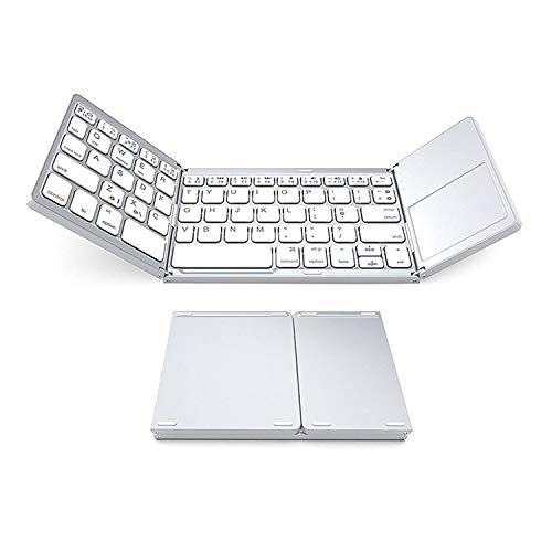 Small Folding Bluetooth Wireless Keyboard, Foldable Size 152 * 98mm with Touchpad, Suitable for Bluetooth Function Windows, Android, Ios Tablet Phone (Color : White)