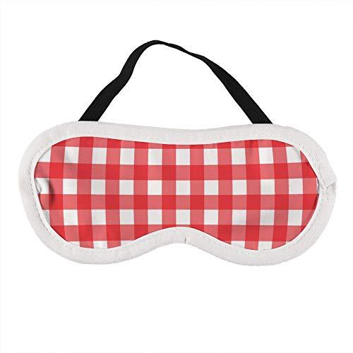 Rood en wit geruit tafelkleed patroon slaap oog masker slapende maskers blinddoek katoen oog kussen zacht voor vrouwen mannen reizen Naps gepersonaliseerd