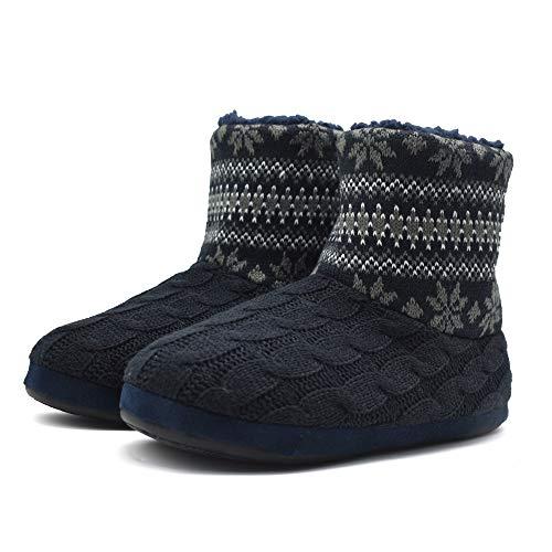 Knit Rock Wool Warm Men Indoor Pull on Cozy Memory Foam Slipper Boots Soft Rubber Sole Black-Grey