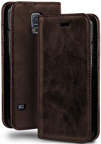 moex Booklet in Lederoptik - Kartenfächer & Aufstellfunktion kompatibel mit Samsung Galaxy S5 / S5 Neo | Eleganter 360 Grad Vollschutz, Dunkel-Braun