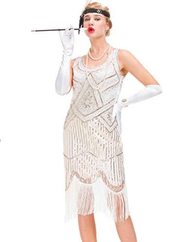 Robe Vintage des années 1920 pour Femme - Robe Great Gatsby à Franges (Blanc, 3XL = UK 20 / EU 48(Poitrine 45.7'))