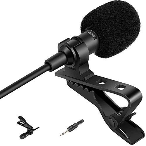 Sujeetec Lavalier-Mikrofon, 3,5 mm, monodirektionaler Stecker, Kondensatormikrofon, kompatibel mit Aufnahmegeräten und Lautsprechern (3,5 mm Mono-Richtstecker)