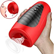 iEleacc 電動オナホール フェラ 3D口腔フェラカップ 振動刺激+吸い付く+加温 亀頭責め G・Cフェラチオ刺激 37℃-40℃加熱機能搭載 排気口付き 男性用 防水 静音
