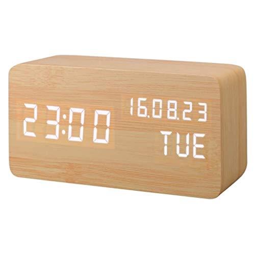 YEUNG houten digitale wekker met 3 alarmen 3 helderheid Voice Control LED-display temperatuur kalender grote getallenweergave voor thuis / slaap/ reizen