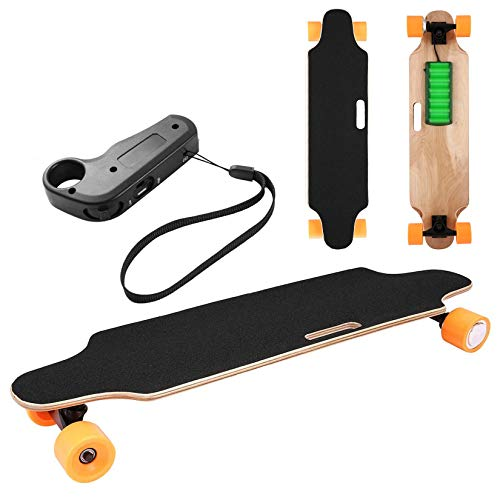 Electric Skateboard Youth Electric Longboard with Wireless Remote Control, 12 MPH Top Speed, 10 Miles Range, 7 Layers Maple Longboard(US Stock) (Orange)