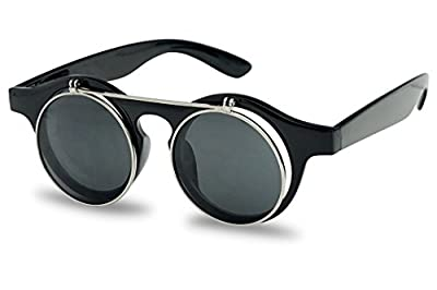 SunglassUP Round 43mm Cyber Steampunk Flip up Clear Lens Glasses/Sunglasses
