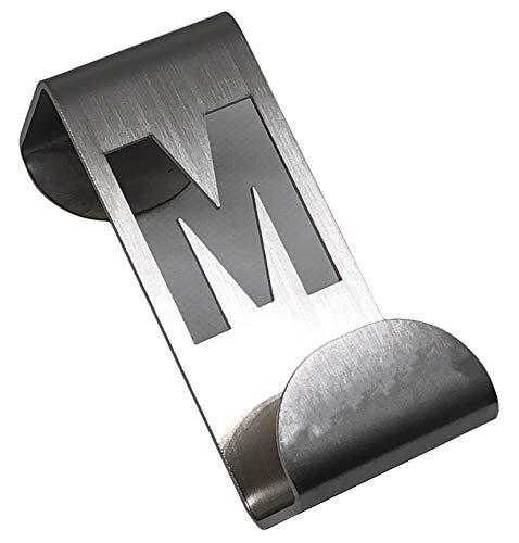 Gancho o Colgador de Puerta de 35 mm de Ancho. con Letra o símbolo. Fabricado en Acero Inoxidable Satinado. (Letra M)