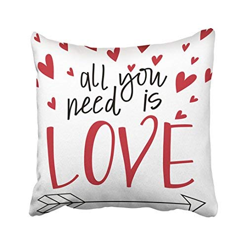 Home Decor Federa per cuscino 16 x16 Red Song All You Need Is Love Lyrics Arrow Calligrafia Cupids Day Hand Cupids Hand Cupids cuscino federe decorative Square Throw Pillow Covers for Sofa Home accessories Giftsas 20x30