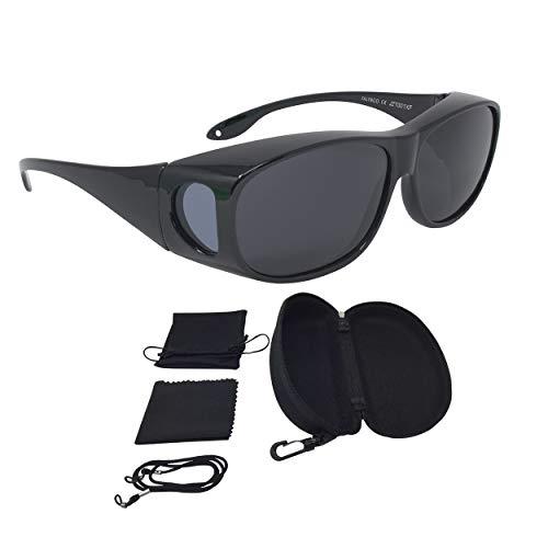 FALINGO Sonnenüberbrille Überzieh Sonnenbrille CLASSIC EDITION polarisiert UV 400 (Schwarz, Grau)