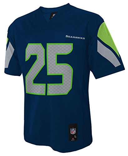 Outerstuff NFL Boys' NFL Kids & Youth Team Color Player Fashion Jersey, Dark Navy, Large (7)>