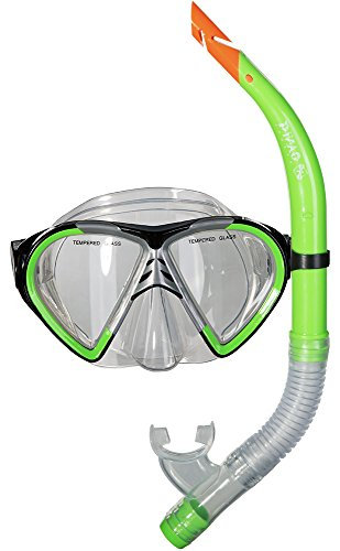PiNAO Sports - Tauchset für Jugendliche, Neon-Grün (52021) [Tauchermaske, Tauchen, Schnorchel, aus Liquid Silikon, Schnorchelset, Schnorcheln]