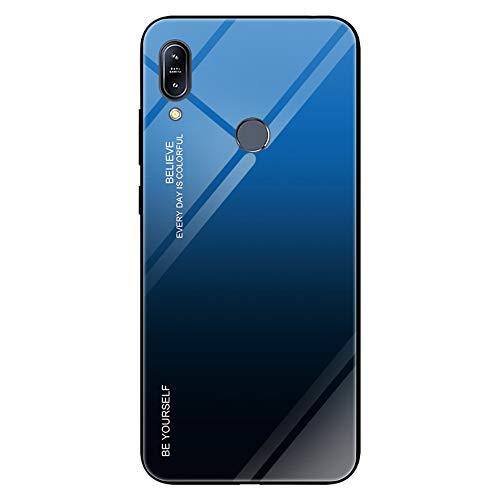 Compatibile / sostituzione per ASUS Zenfone Max Pro (M2) ZB601KL Color Gradient Cover 9H Vetro Temperato Hard Back Case + Silicone Soft TPU Custodia Protettiva (Blu Nero)