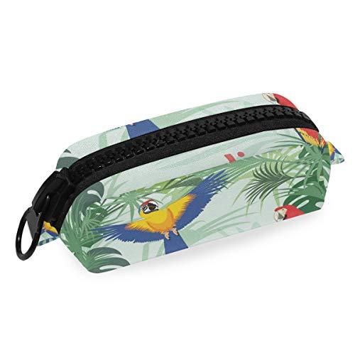 Bolsillo de alta calidad con bolsillo, cremallera grande, loros coloridos en hojas de la selva, estuche de dibujos animados, estuche para lápices