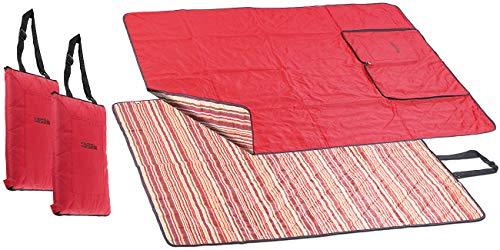 PEARL Strandmatte: 2er-Set 3in1-Picknickdecke, Sitzkissen & Zudecke, waschbar, 180x150 cm (Picknick-Decke)
